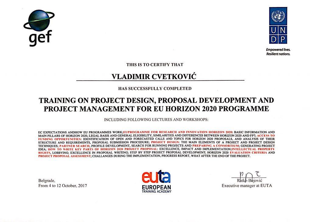 Certificate Horizon 2020