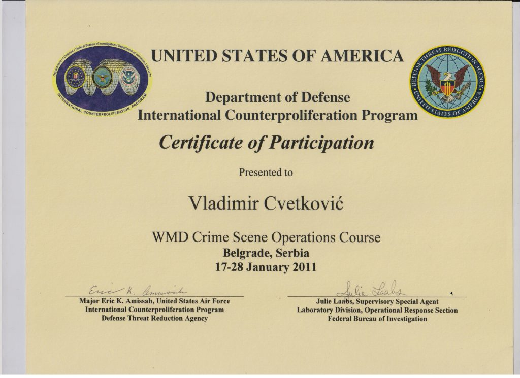 Certificate of participation America