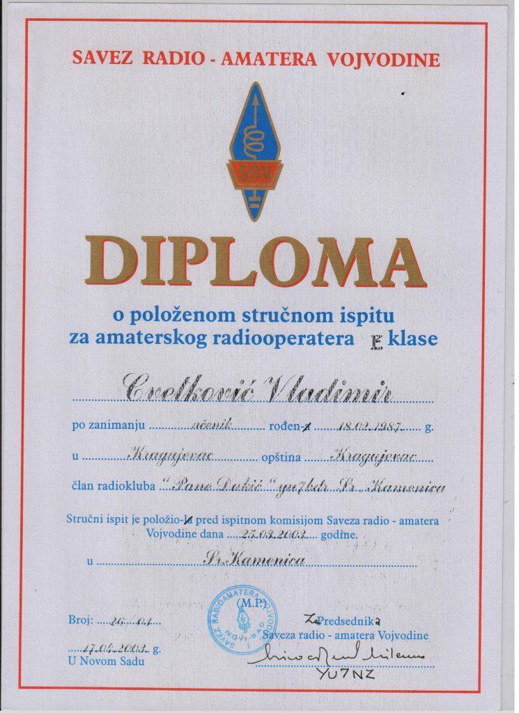 Diploma radiooperater