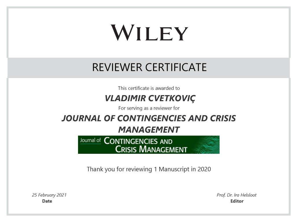 JCCM Reviewer Certificate