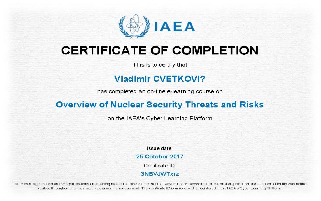 Overview of Nuclear Security Threats and Risks_Certificate